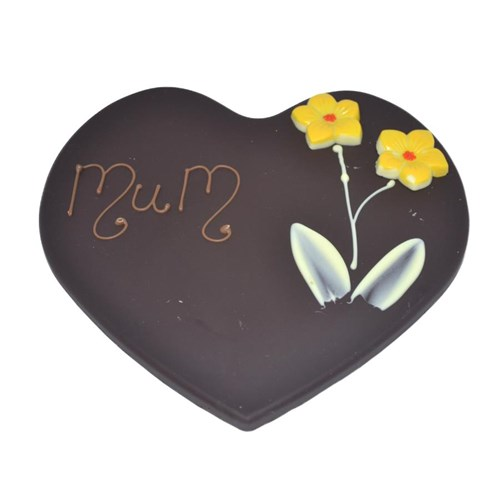 Love Heart Dark Chocolate Plaque - Mum